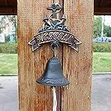 X&Z-XAOY Timbre de Hierro Fundido Retro, artesanías de jardín de Patio Decorativo de Hierro Forjado de Hierro Forjado Colgante 18x24cm Timbre Retro