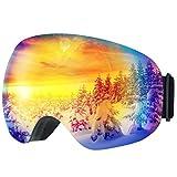 TOPELEK Occhiali da Sci Adulti,Maschere da Sci Snowboard,Super-grandangolo e Sferica Lente,Neve Occhiali con Anti-Fog e Trattamento di Protezione UV400 per Uomini e Donne