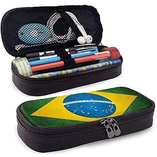 Bandera de Brasil Estuche de cuero de alta capacidad Estuche de lápices Estuche de papelería Organizador de caja Organizador de oficina Bolígrafo de maquillaje Bolsa de cosméticos portátil