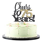 LVEUD Black Font Golden Numbers Cheers to 75 Years Happy Birthday Cake Topper...
