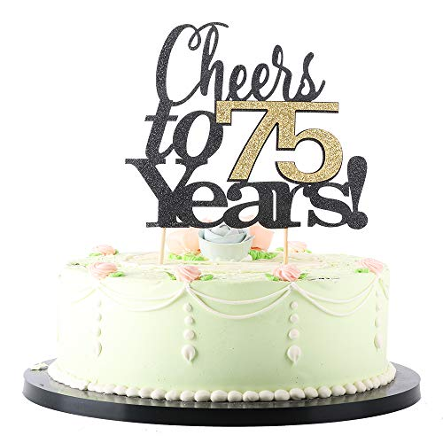 LVEUD Black Font Golden Numbers Cheers to 75 Years Happy Birthday Cake Topper -Wedding,Anniversary,Birthday Party Decorations (75th)