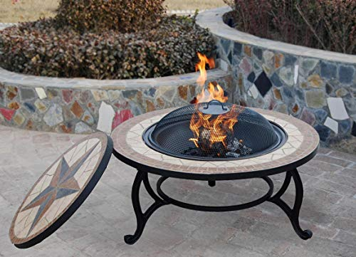 3 IN 1 GARDEN BBQ FIRE PIT For Wood, Fire and Cooking Charcoal Barbeque Grill Kit, Large Round Mosaic Ceramic Table Top, Outdoor Space Heater, Metal Basket FIREPIT Bowl for Patio Heating with Rain Cover