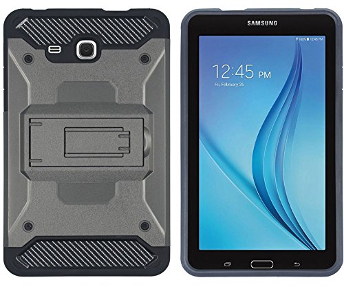 Heavy Duty Ultra Slim Bumper Shockproof Case Cover Pouch With Stand and Impact Resistant Carbon Fibre FOR Samsung Galaxy Tab A 7.0 Inch 2016 SM-T280 / T285 / Samsung Tab A6 7.0' (Grey)