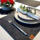 DINING concept I Edles 6er Filz Tischset grau anthrazit I Hochwertige Filz Platzdecken Platzsets I Filzset Tisch Design Platzset Unterlagen für Teller 44 x 30 cm Platzmatten Set mit Deko Untersetzer - 9