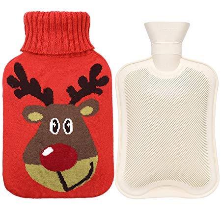 IXIGER Rubber Hot Water Fles Warmer met Knit Cover, Geweldig voor Pijnverlichting, Hete en Koude Therapie, (2 liter, Cartoon Hert, Rood)