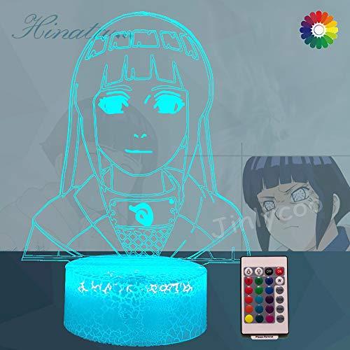 Lámpara de noche Hinata 3D óptica, lámpara acrílica Naruto Anime Figuras para niños,mando a distancia,base Crackle,7colores,decoración de habitación de bebé,regalo de Navidad Naruto,Sasuke,itachi