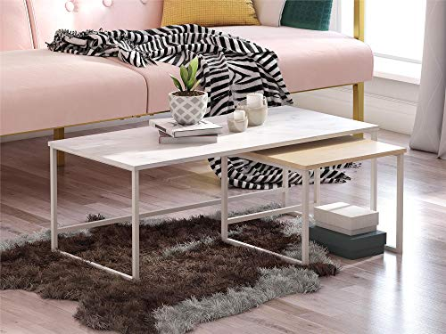 CosmoLiving Scarlett Nesting Coffee and End Tables, White Marble and Natural