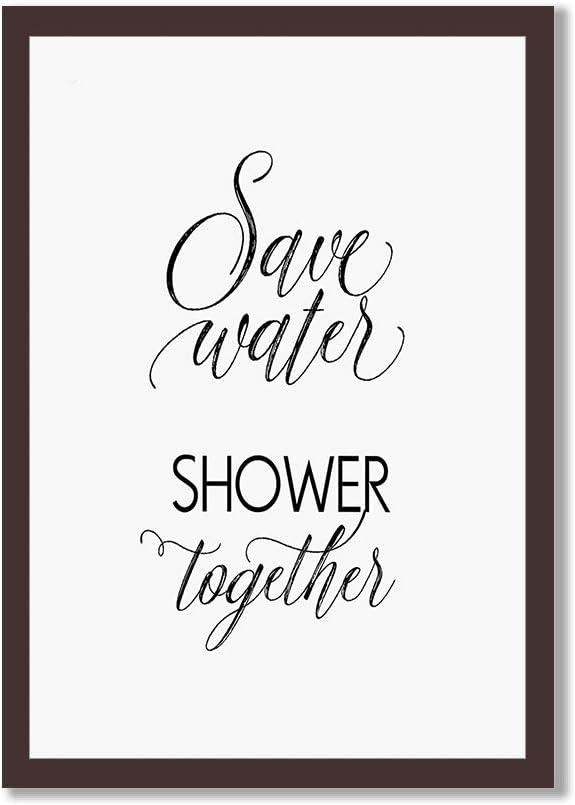 Elvoes ランキング総合1位 Save Water Shower Together P 予約販売 Motivational Poster Framed
