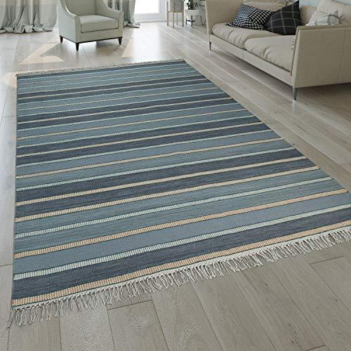 Paco Home Natur Teppich Wolle Modern Handgewebt Gestreift Kelim Design Fransen Blau Beige, Grösse:120x170 cm