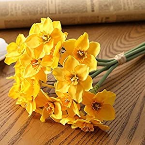 Silk Flower Arrangements 6pcs/Lot Home Room Artificial Simulation Narcissus Flower Living Room Window Decor Fake Flowers Wedding Scene Decor Daffodil (Color : Yellow)