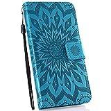 Ysimee Coque Compatible avec Motorola Moto P30 Play Fleur Portefeuille en Cuir Etui de Protection...
