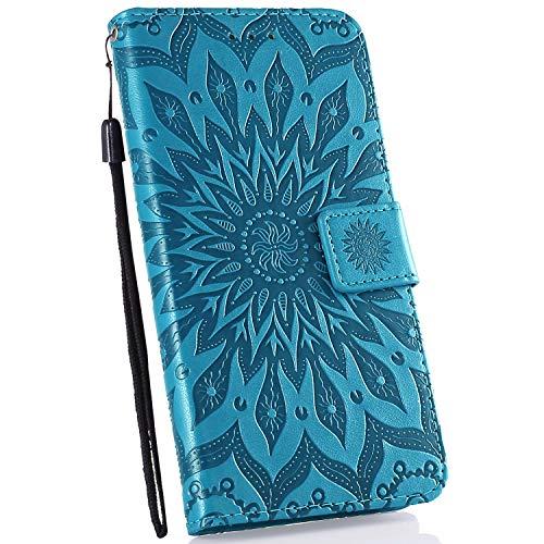 Ysimee Coque Compatible avec Huawei Honor 8C Fleur Portefeuille en Cuir Etui de Protection avec Fentes de Cartes Fermeture Magnétique Fonction Stand Case Couverture à Rabat Housse,Bleu