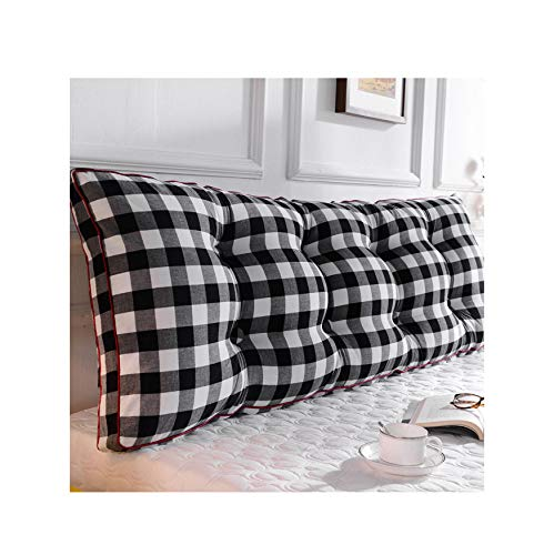 MBMF Japanese Simple Lattice Bedside Cushion, Large Backrest Waist Support, Removable and Washable Tatami Soft Bag Double Long Pillow(Color:B,Size:2005020cm)