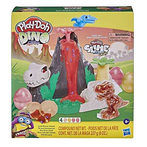 Play-Doh Slime Dino Crew Lava Huesos Island Volcano Playset con huevos HydroGlitz y mezclas, juguete de dinosaurio para niños de 4 años en adelante, no tóxico