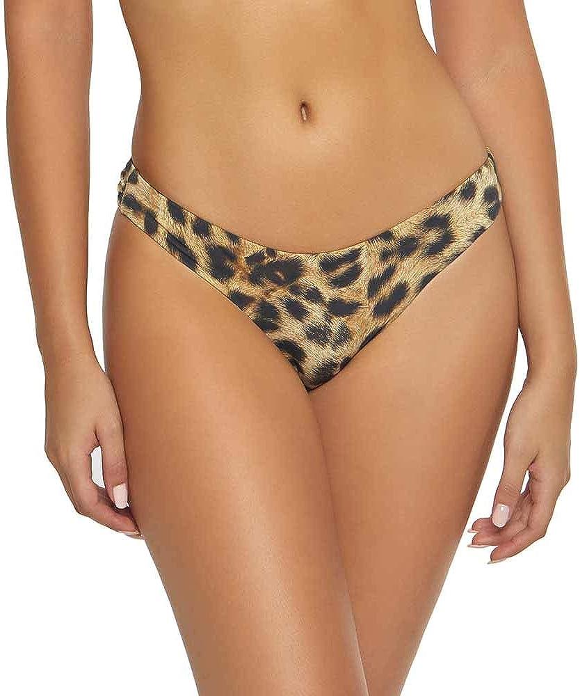 PQ Swim Women's Jungle Basic Ruched Bikini Bottoms - Low Rise, Cheeky Coverage - Teeny