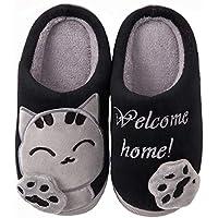 ChaxChay Zapatillas de Estar por Casa Lindo Animados para Niños Mujer Hombre Invierno Pelusa Forro Pantuflas Interior de Memoria Espuma Cómodo Caliente Zapatos de Algodón, Negro, 37/38 EU