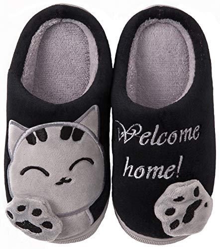 ChayChax Zapatillas de Estar por Casa Lindo Animados para Niños Mujer Hombre Invierno Pelusa Forro Pantuflas Interior de Memoria Espuma Cómodo Caliente Zapatos de Algodón, Negro, 25/26 EU