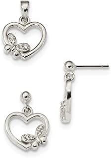 Sterling Silver Polished Cubic Zirconia Heart Butterfly Pendant and Earrings Set
