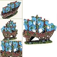 PULABO 品質水槽の風景セーリングボート船駆逐艦水槽の飾り水族館水槽海賊の装飾のある丈夫で使い安心です