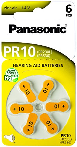 60 Stück (10 Blister) Panasonic Typ 10 Hörgerätebatterie Zinc Air P10 PR70 ZL4 mit 2 Stück LUXTOR® Reinigungstücher für Hörgeräte und Otoplastiken