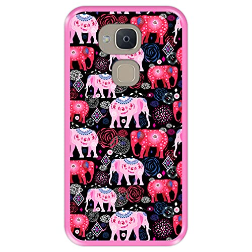 Hapdey silikon Hülle für [ Bq Aquaris V - VS ] Design [ Helles Muster von rosa & roten schönen Elefanten ] Rosa Flexibles TPU