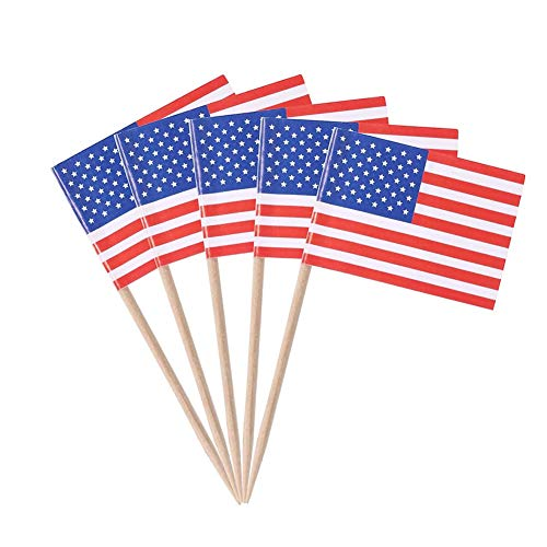 Yisily 100 Stück Papier Usa Flagge Picks Mini Fruit Cocktail Essen Zahnstocher Sticks Flagge Partydekoration Flaggen Der Welt