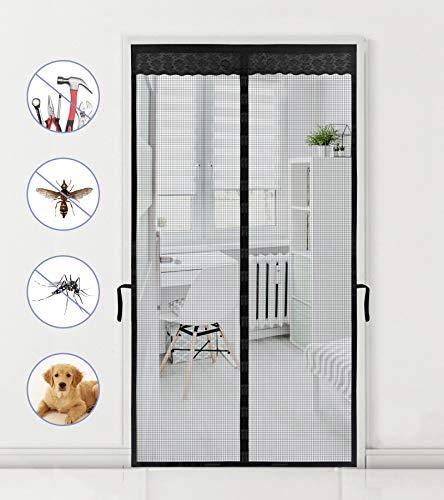 Magnetic Screen Door for Sliding Glass 39' x 83' innhom Screen Doors with 36 Magnets, Door Screen Magnetic Closure, Fiberglass Heavy Duty Mesh Screen Door with Magnets, Fits Door up to 38' x 82' Black