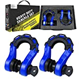 AUTOBOTS [New Edition Mega Shackles(2 Pack) 68,000 lbs, Stronger Than 3/4' D Ring, with 7/8' Screw Pin, 2 Shackle Isolators & 4 Washers Kit for Tow Strap Winch Off Road Accessory Vehicle Recovery