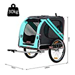 PawHut Folding Dog Bike Trailer Pet Cart Carrier for Bicycle Travel in Steel Frame - Green & Grey 13