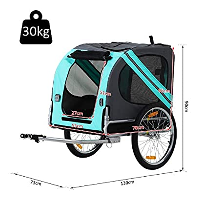 PawHut Folding Dog Bike Trailer Pet Cart Carrier for Bicycle Travel in Steel Frame - Green & Grey 4