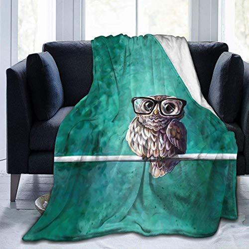 ZHENJING Manta de forro polar de franela rústica, búho intelectual con gafas, bonito patrón de animales, para silla de clima frío, regalo de boda, manta de aire acondicionado