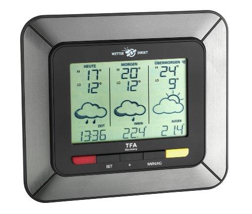 TFA Dostmann Twister S 300 satellitengestützte Funk-Wetterstation, mit Wetterdirekt Technologie, Unwetterwarnung, Wettervorhersage, Profi-Wetterprognose