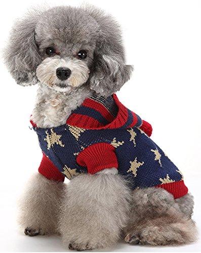 (マルペット)MaruPet 誕生日 聖夜 秋冬 ペットウェア犬服猫服 おしゃれ ペットウェア ドッグウエア 帽子付き 小型犬用品 かわいい犬の服 ニットセーター トイプードル/ダックス/マルチーズ/シュナウザー/シーズー等の小型犬 ネイビー XL