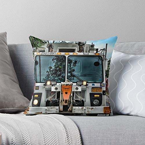 Dsny Truck Island S Dos Staten Sanitation I NYC Garbage - Modern Decorative & LightweightSoft Cotton Polyester Throw Pillow Cases for Bedroom/Living Room/Sofa Chair & Car