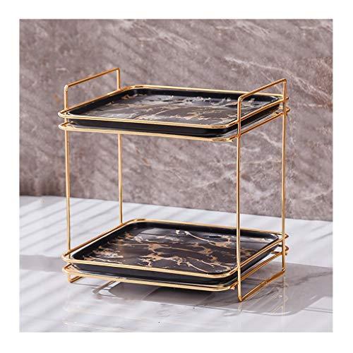 YOYO Nivel 2 Bandeja tocador del baño cosmético del almacenaje Estante for una cómoda y encimera, baño de mármol Decorativo Bandeja (Color : Black, tamaño : Middle)