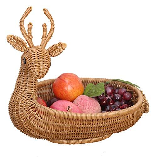 DQMSB Plato de Frutas Sala de Estar hogar Creativo Moderno Canasta de Frutas Canasta de Almacenamiento de Mimbre Cesta de Pan Dulce Vegetal Cesta de bocadillos