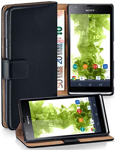 MoEx Cover a Libretto Compatibile con Sony Xperia SP | Fessura Carta + Soldi, Supporto, Nero