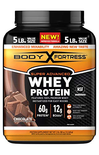 Body Fortress Super Advanced Whey Protein Powder, Gluten Free, Chocolate, 5 Lbs