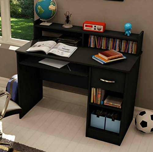 South Shore Small Desk - Great Writing Desk for Your Child - The Computer Desk Is Great for Your Kid's Bedroom or Any Small Area - Place a Laptop in This Study Table - 5 Years Warranty! (Black)