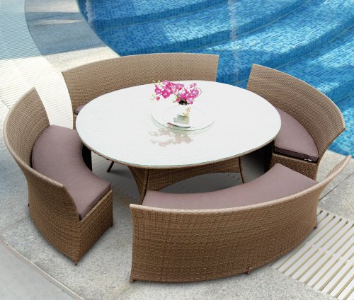 Big Sale Tosh Furniture 5 Piece Brown Outdoor Dining Set