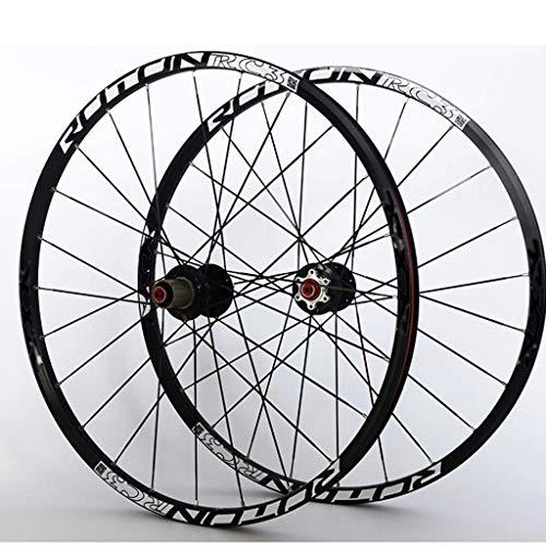 AISHANG Ruedas de Ciclismo Juego de Ruedas de Bicicleta de montaña Llanta de aleación de Doble Pared F2 R5 Rodamiento de Palin Freno de Disco de liberación rápida 9 10 11 Velocidad Negro