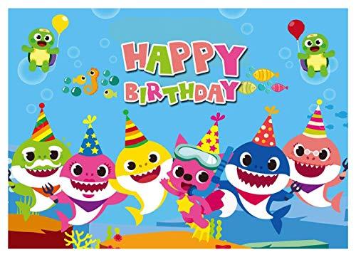 Fondo de Fotos para niños de 7 x 5 pies, diseño de tiburón con Dibujos Animados, Fondo de fotografía para Fiesta de cumpleaños de niños, Tema de Animales, BV019