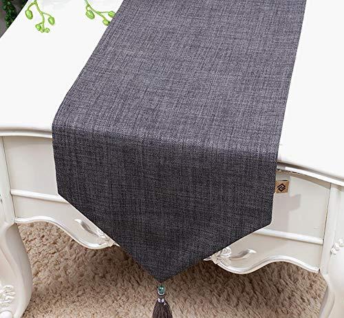 NUANXIN Tafelkleed, polyester katoenen dressoir met kwasten, ideale salontafel of keukentafel beddengoed decoratie,Grijs,33 * 150cm