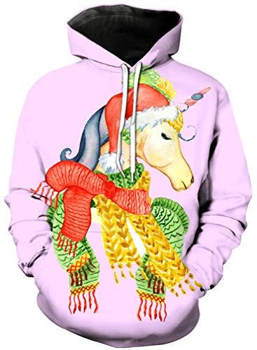 Ocean Plus Mädchen Kapuzenpullover Einhorn Flamingo Hoodie Geburtstag Sweatshirt mit Kapuze Ananas Girls Kinder Kapuzensweatshirt (M (Körpergröße: 115-125 cm), Schal Einhorn)