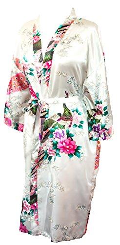 Kimono de CC Collections Shipping Bata de Vestir túnica lencería Ropa de Noche Prenda Despedida de Soltera (Blanco Perla)