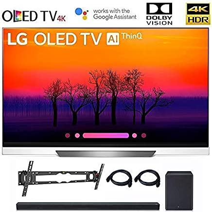 $3396 Get LG OLED65E8 Class E8 OLED 4K HDR AI Smart TV 2018 Model, LG SK8Y 2.1 ch High Res Audio Sound Bar, Wall Mount, 2HDMI Cables. LG Authorized Dealer! (65-inch)