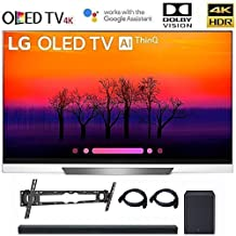 LG OLED65E8 Class E8 OLED 4K HDR AI Smart TV 2018 Model, LG SK8Y 2.1 ch High Res Audio Sound Bar, Wall Mount, 2HDMI Cables. LG Authorized Dealer! (65-inch)