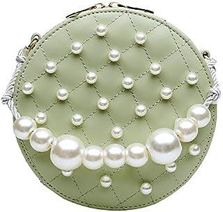Adebie - Circular PU Chains Pearl Messenger Bags for Women 2019 Mini New Summer Sweet Shoulder Handbags Fashion Famous Brand Tote Bag Green []
