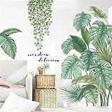 LucaSng DIY Groß Wandtattoo Wandaufkleber, Grüne Pflanze Blätter Schildkrötenblatt Wandsticker Wanddeko für Wohnzimmer Schlafzimmer Flur Kühlschrank (Stil B)