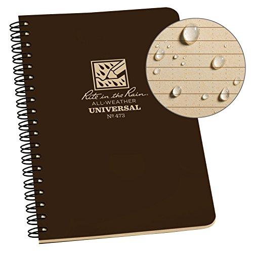 Rite in the Rain Allwetter-Notizbuch mit Spiralbindung Universal 1 Pack Braun, 4.625